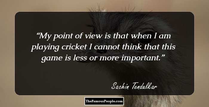 My Point Of View Is That When I Am Playing Cricket Cannot Think This Game Less Or More Important
