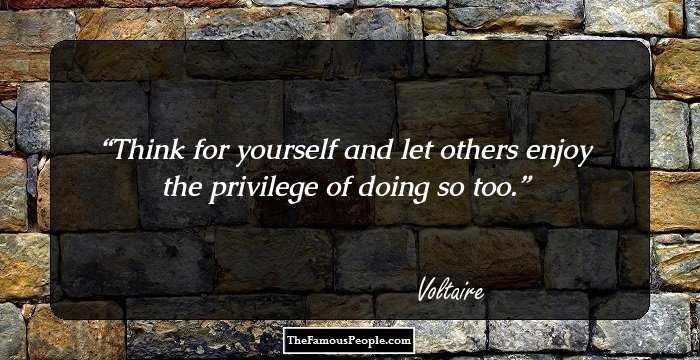 voltaire essay on tolerance think for yourself I like to think that voltaire understood this and the poet in him put to  the entire essay is a brilliant and adequately  you may ask yourself what god.